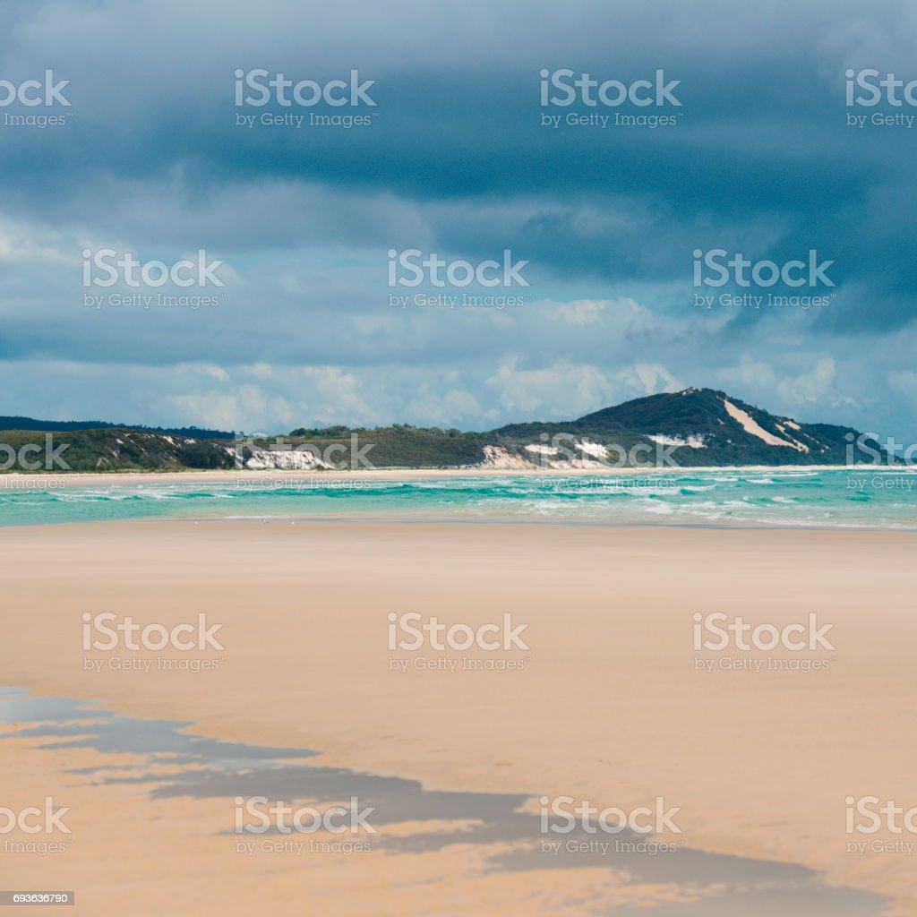 Pristine beachfront at North Point, Moreton Island. stock photo