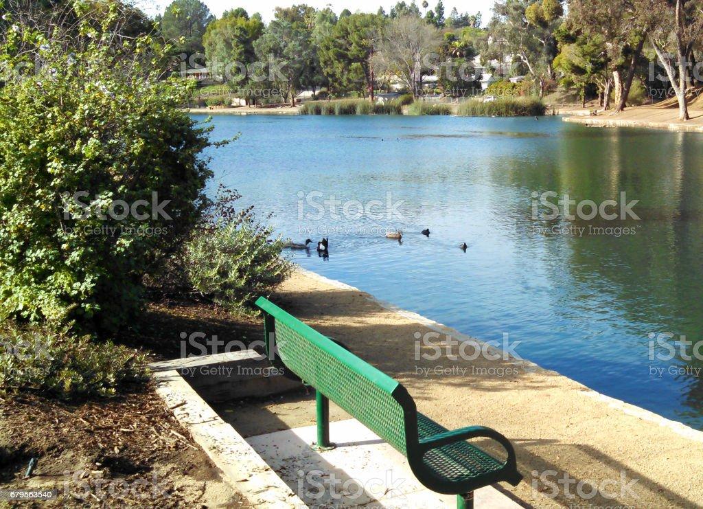 A Pristine Lake in Orange County, CA stock photo