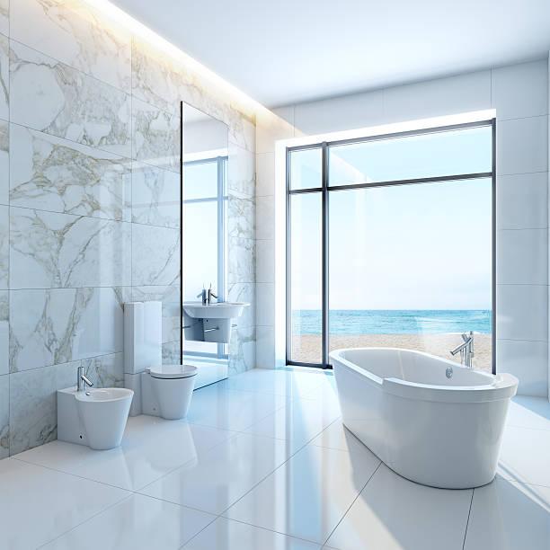 weiße badezimmer by the sea - minimalbadezimmer stock-fotos und bilder