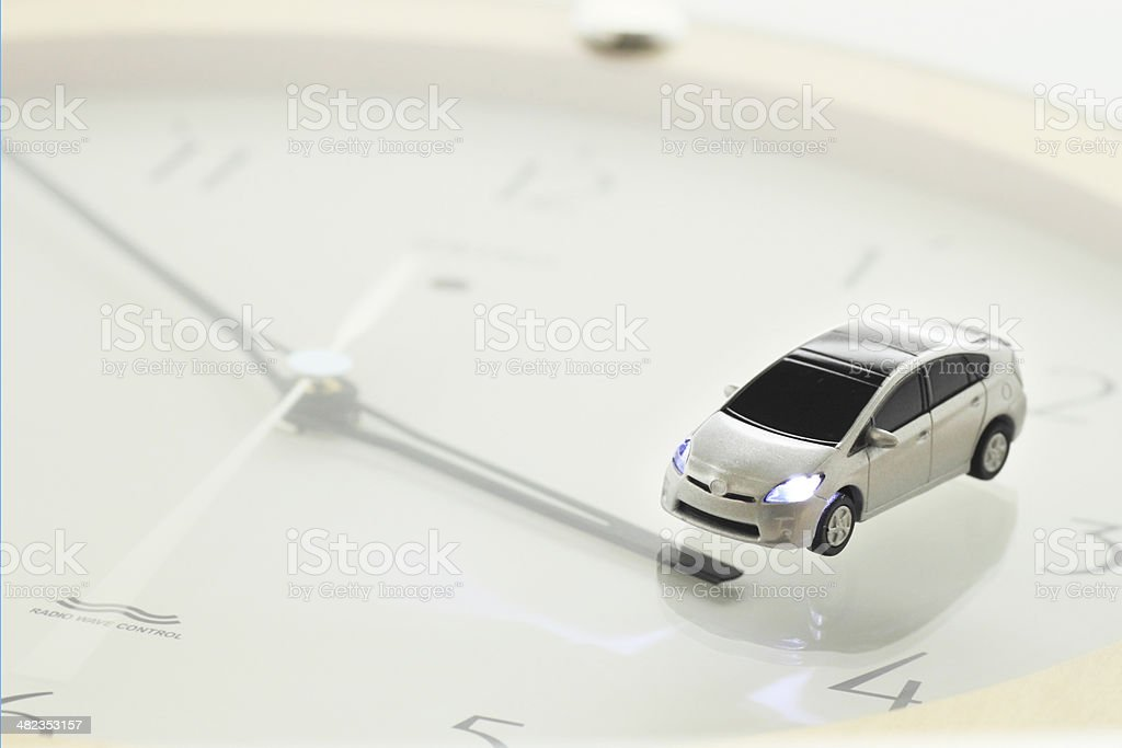 prius and clock stock photo