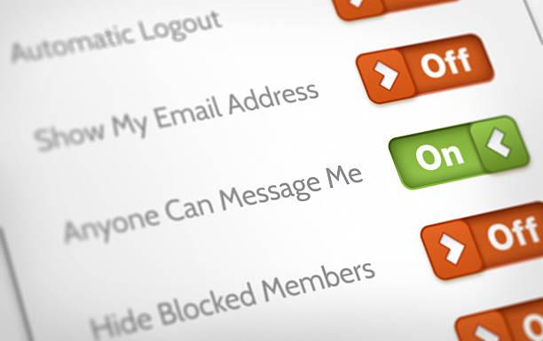 privacy and account settings - omgeving stockfoto's en -beelden