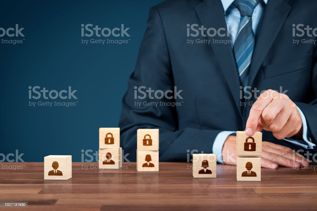 Privacy and personal data protection concept. Businessman add padlock...