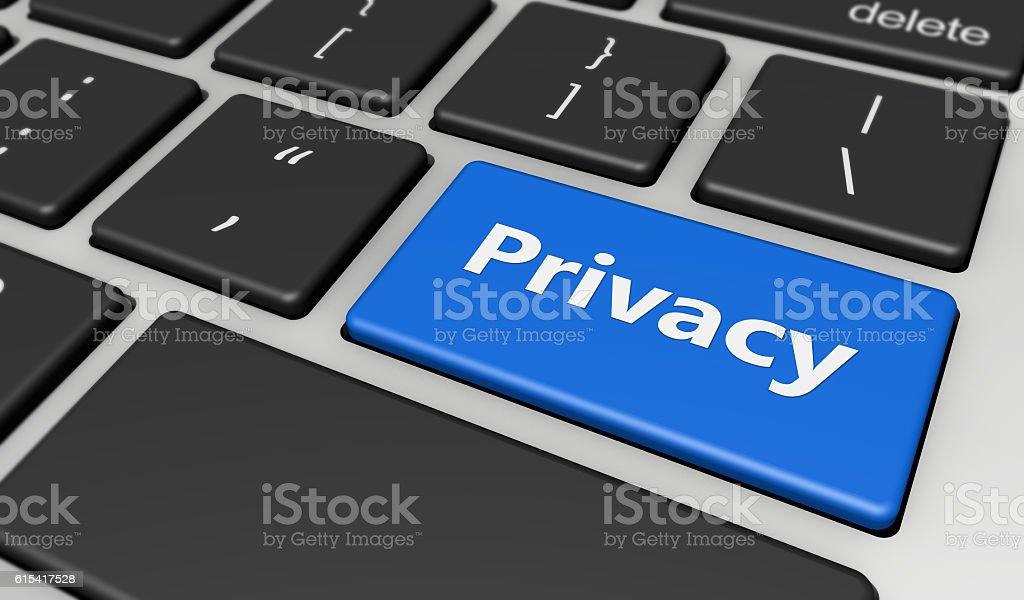 Privacy Computer Keyboard stock photo