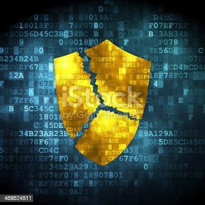 502195097istockphoto Privacy concept: Broken Shield on digital background 459524511