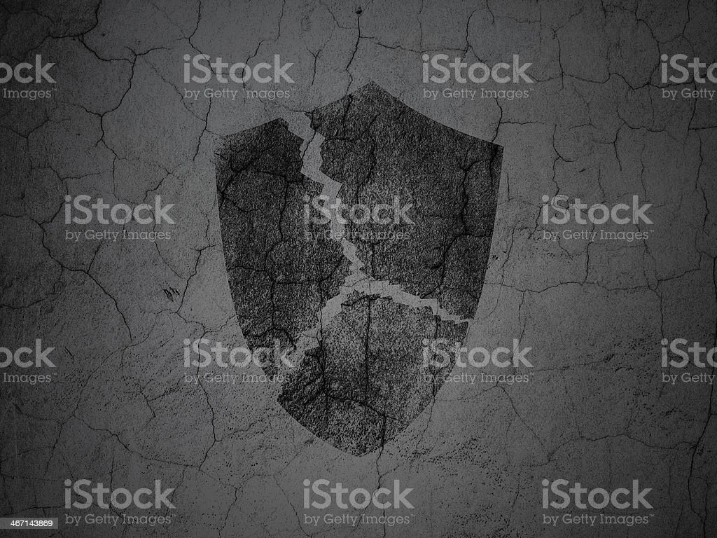 Black Broken Shield on grunge textured concrete wall background, 3d...