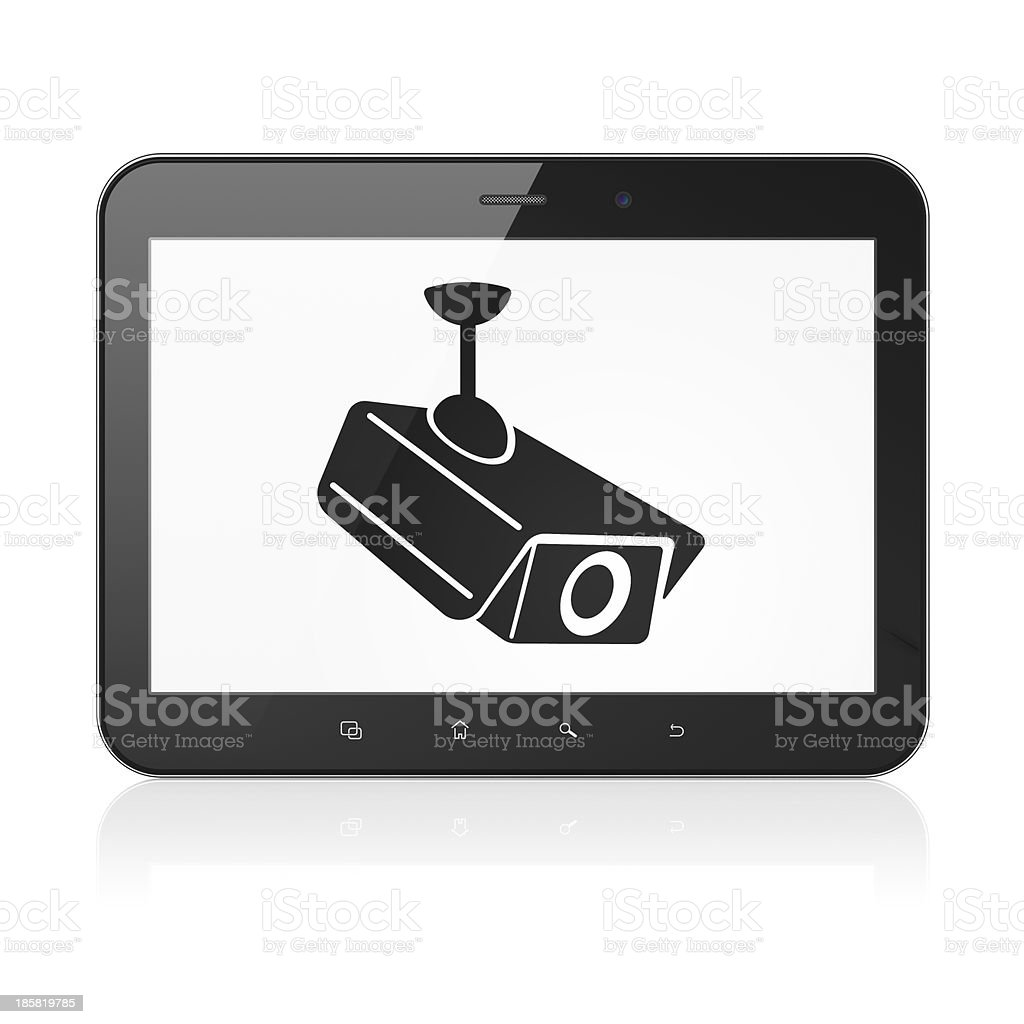 Privacy concept: Cctv Camera on tablet pc computer royalty-free stock photo