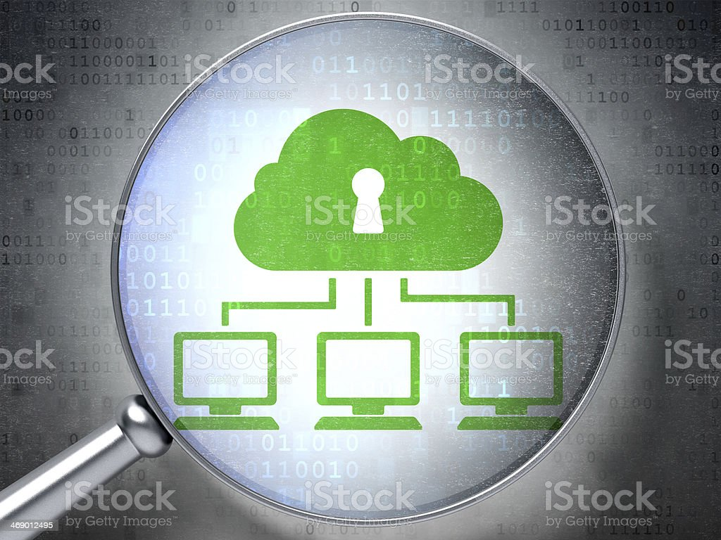 magnifying optical glass with Cloud Network icon on digital...