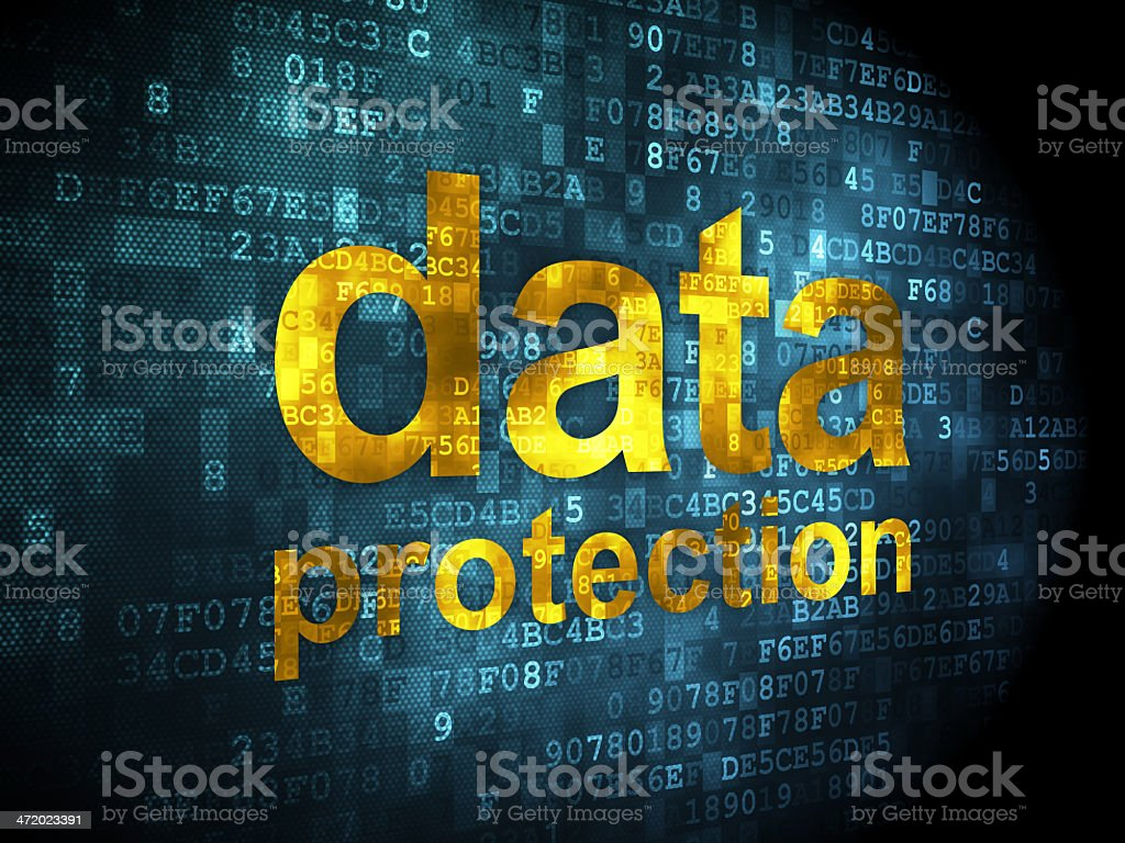 pixelated words Data Protection on digital background, 3d render