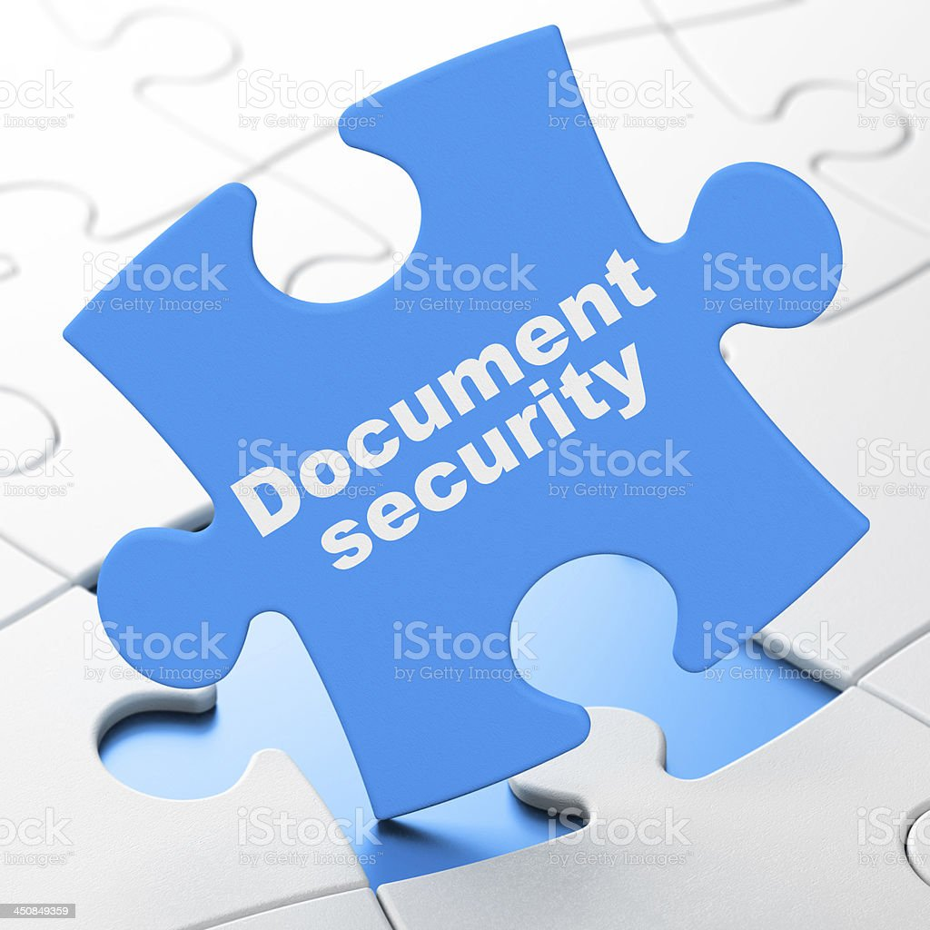 Document Security on Blue puzzle pieces background, 3d render