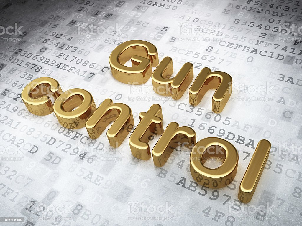 Privacy concept: Golden Gun Control on digital background royalty-free stock photo