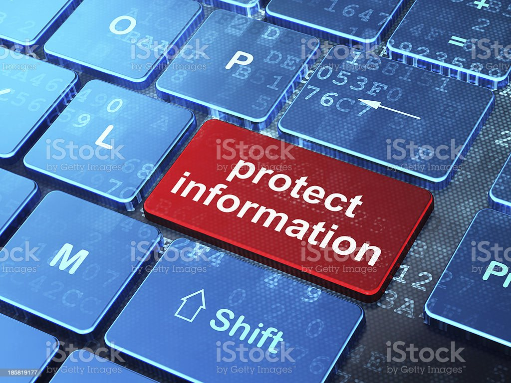 Privacy concept: Protect Information on computer keyboard backgr royalty-free stock photo