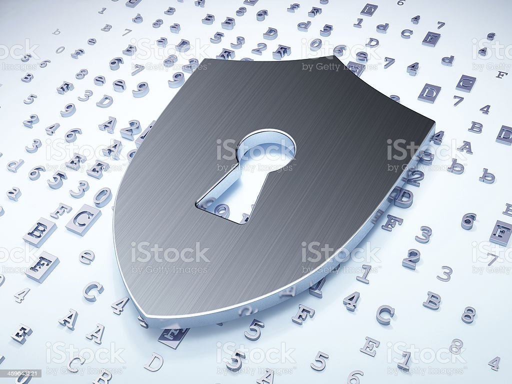 Privacy concept: Silver Shield With Keyhole on digital backgroun stock photo