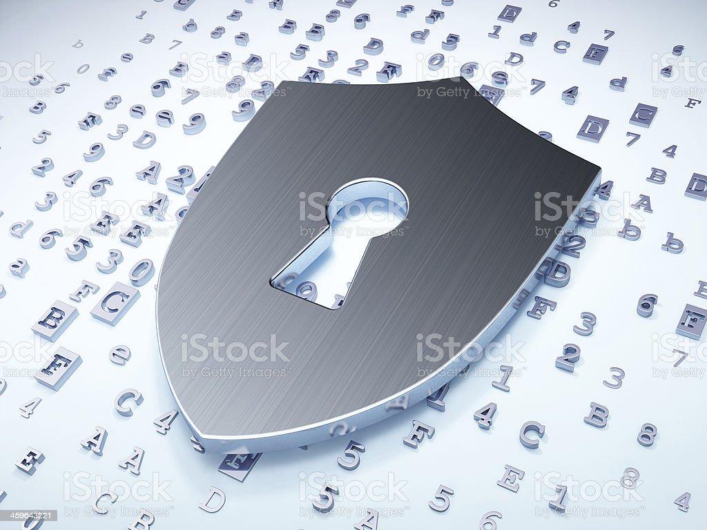 concept de protection de la vie privée: Plaque argentée avec ouverture goutte d'eau sur l'héritage numérique - Photo