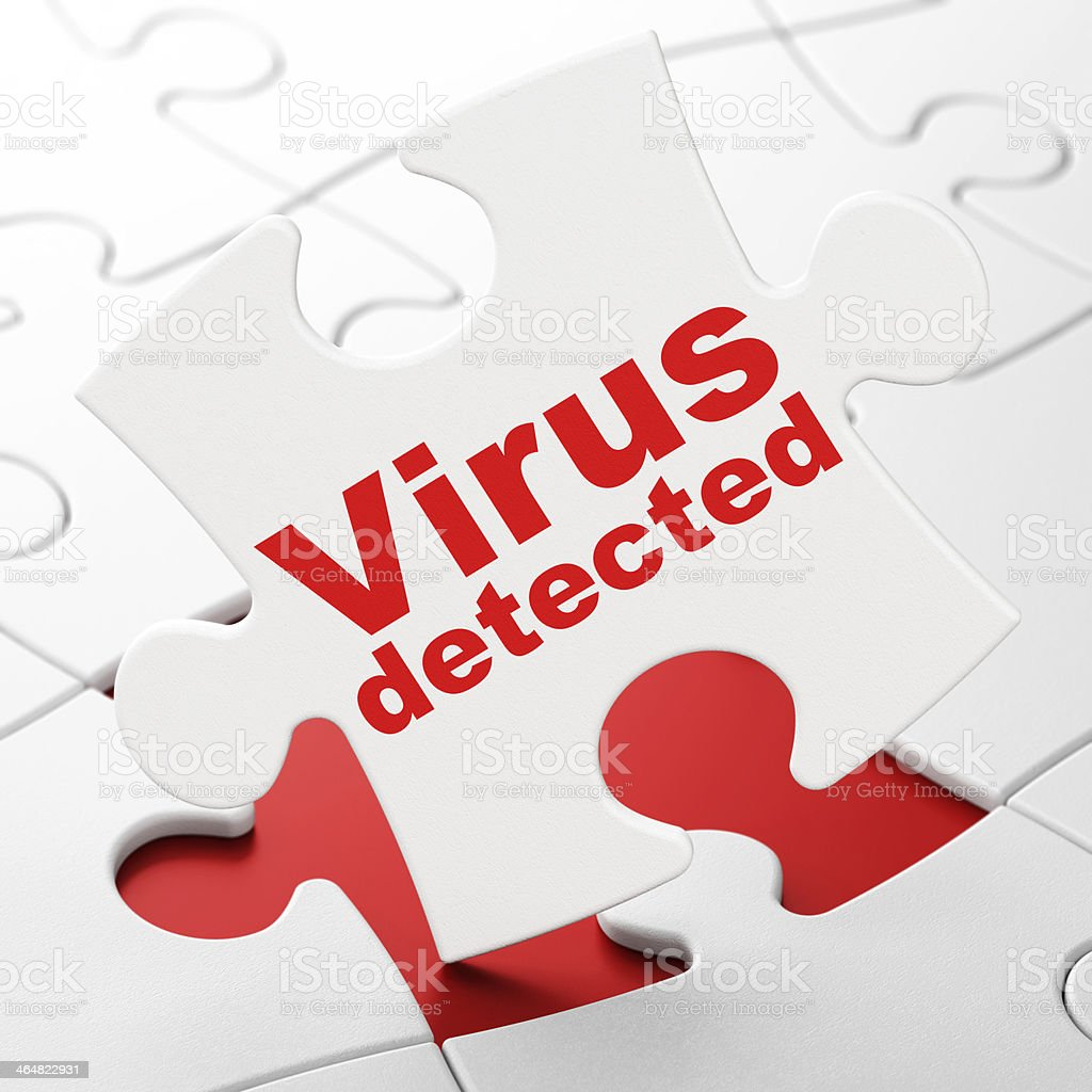 Virus Detected on White puzzle pieces background, 3d render