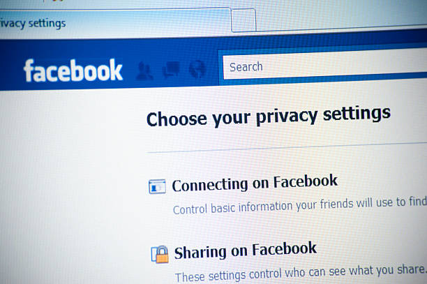 Privacy on Facebook.com Website stock photo