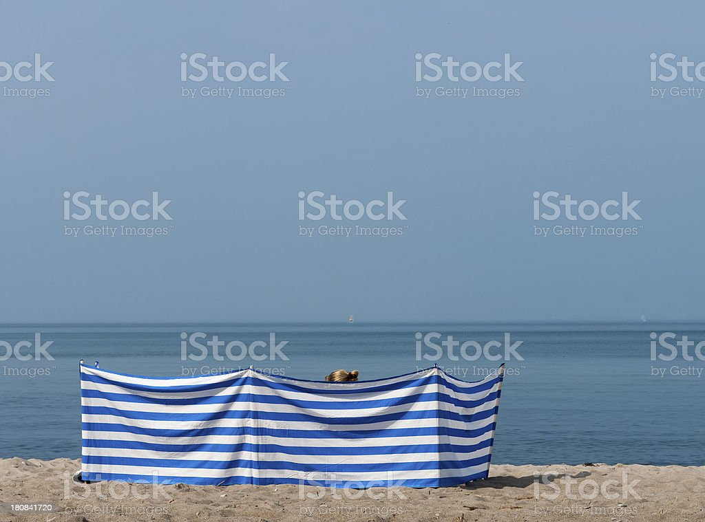 Women created a private space on a beach