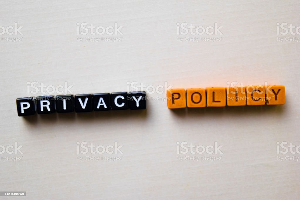 Privacy Policy on wooden blocks. Business and inspiration conceptp