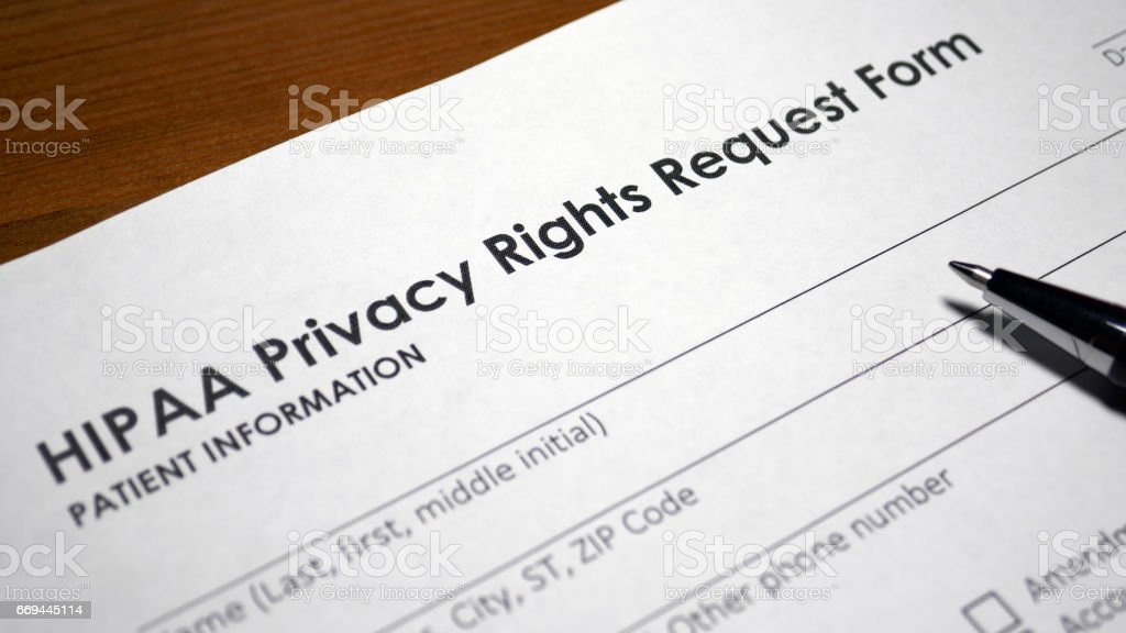Someone filling out HIPAA Privacy Rights Request Form.