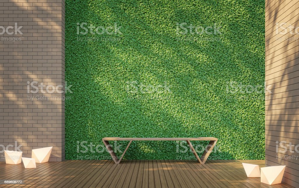 Privacy Terrace with Green wall 3d rendering image stock photo