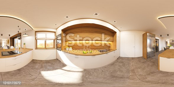988616560 istock photo Privat house in modern style. 3d illustration spherical 360 degrees, seamless panorama of living room and kitchen interior design. Rendered picture 1010172072
