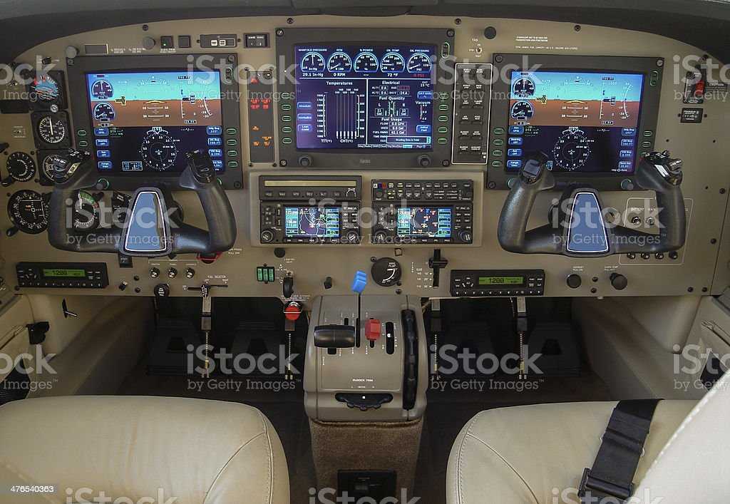 Private Aircraft Cockpit stock photo