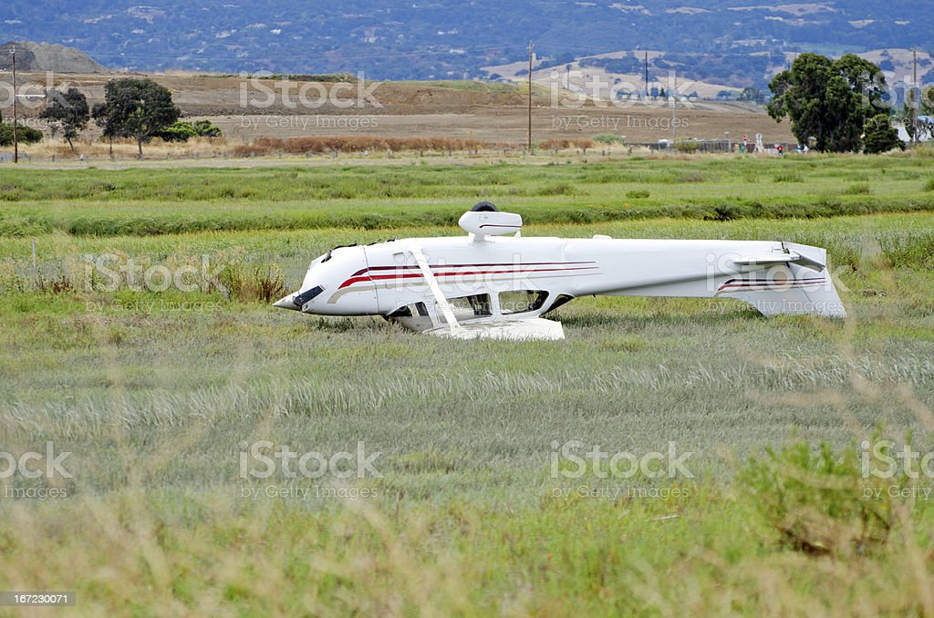 private airplane accident Cessna 172 stock photo