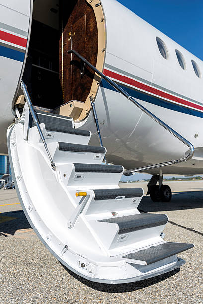 Private airplane open stairs stock photo