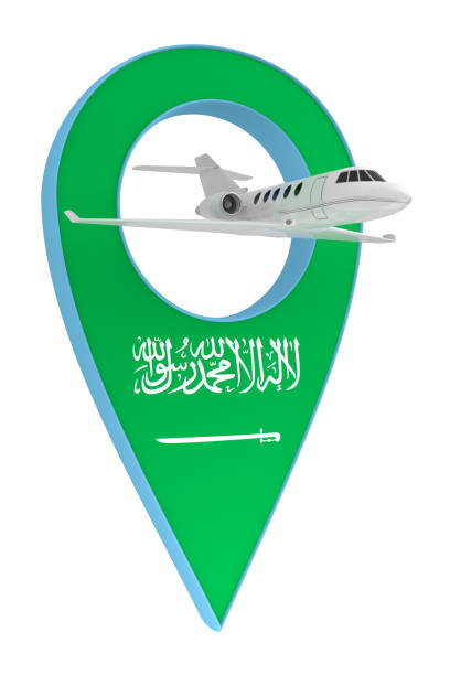 private airplane with pin navigation flag saudi arabia - saudi arabia map stock photos and pictures