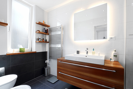 Modern private apartment bathroom interior