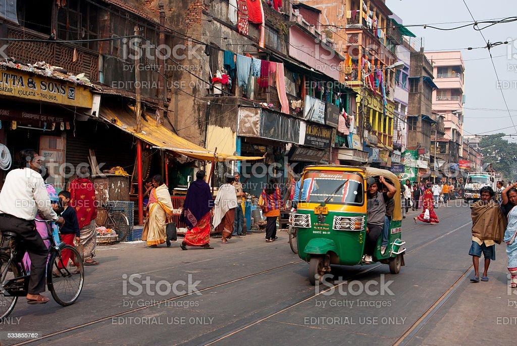 Private auto rickshaw three-weeler tuk-tuk taxi stock photo
