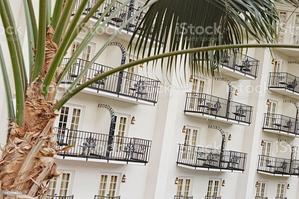 Private balcony in a tropical resort hotel royalty-free stock photo