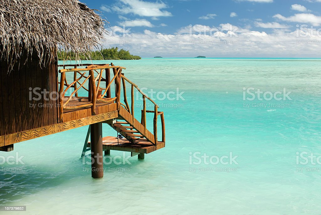 Private beach hut at the South Pacific ocean royalty-free stock photo