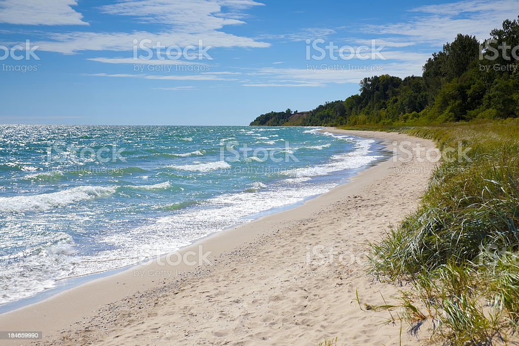 Private Beach With Emerald Waters stock photo