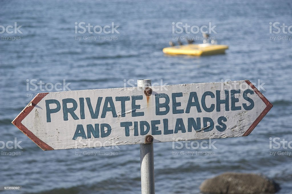 Private Beaches and Tidelands Sign stock photo