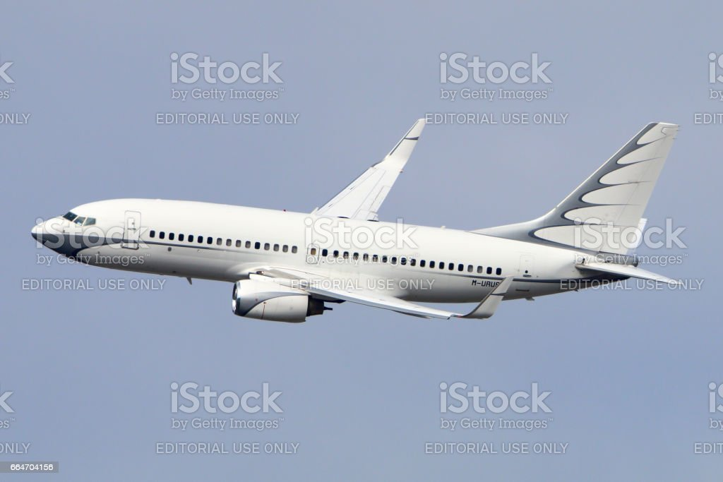 Private Boeing 737 BBJ M-URUS makes final turn to land at Vnukovo international airport. stock photo