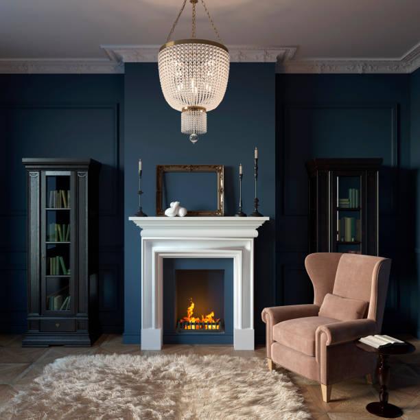 privater schrank im klassischen stil mit kamin und bibliothek - kamin wohnzimmer stock-fotos und bilder