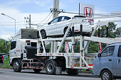 istock Private car, Honda HRV On trailer Truck. 584884232