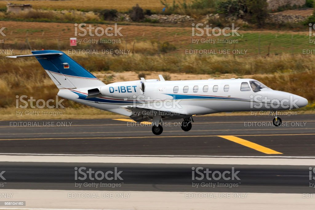 A Private Cessna Jet Seconds Before Touch Down Stock Photo More