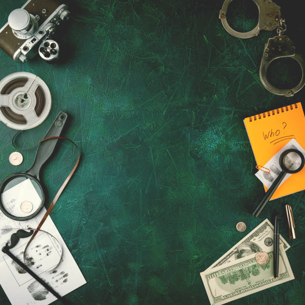 Private Detective Tools Composition with different items for detective on wooden background sherlock holmes stock pictures, royalty-free photos & images