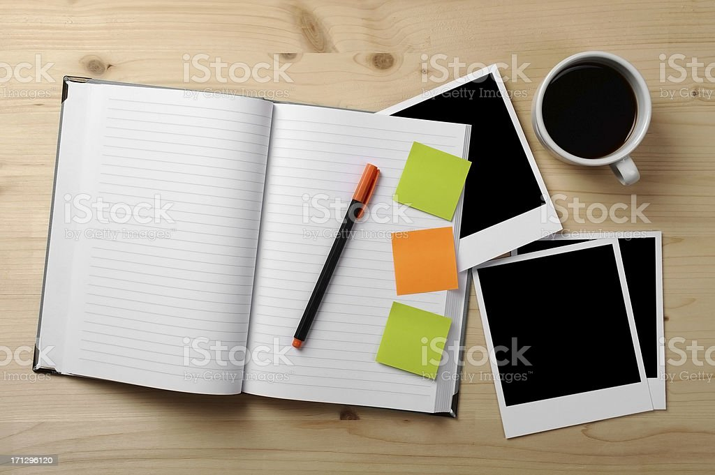Private diary and Photo papers royalty-free stock photo