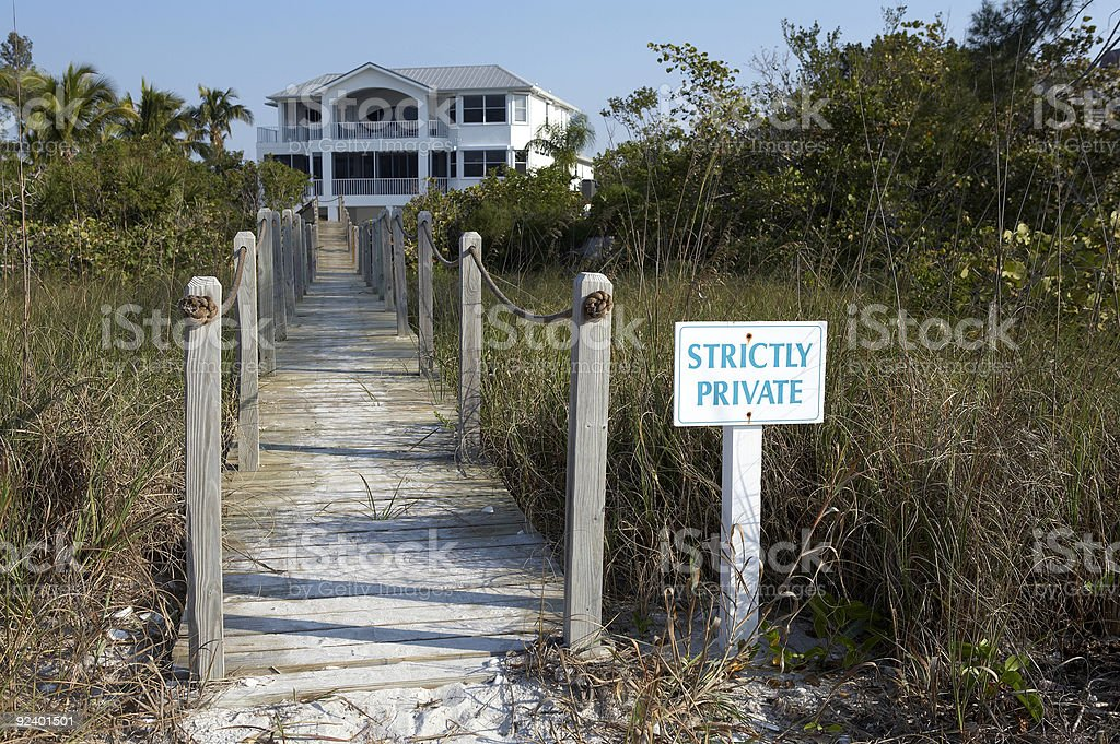 Private entrance to a beach front property stock photo