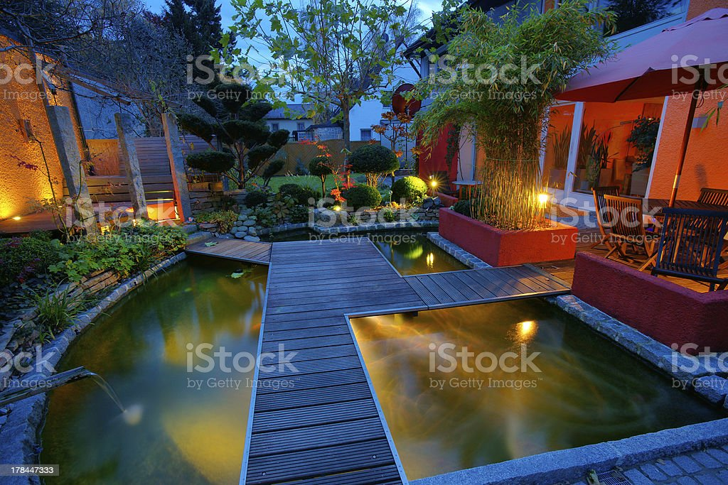 Private Garden at Sunset stock photo