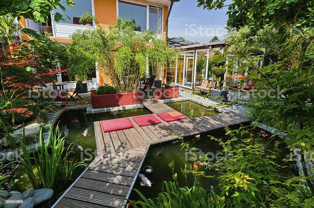 Private Garden with Koi Pond stock photo