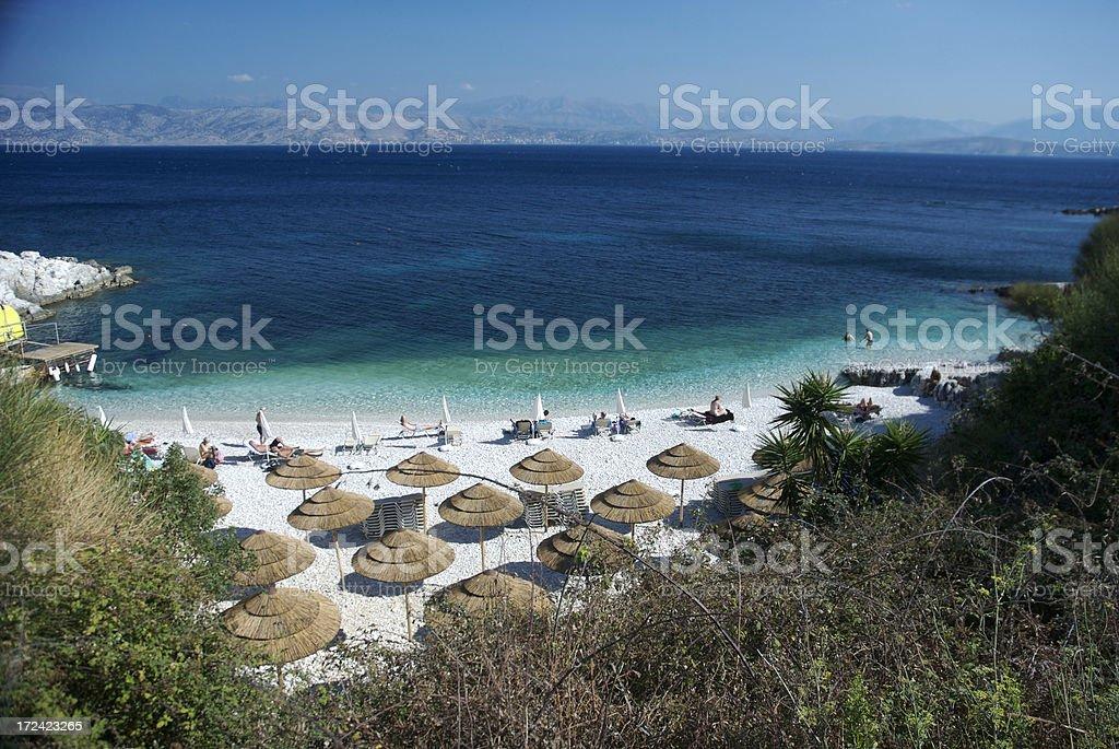 Private Greek Cove Bright Mediterranean Beach stock photo