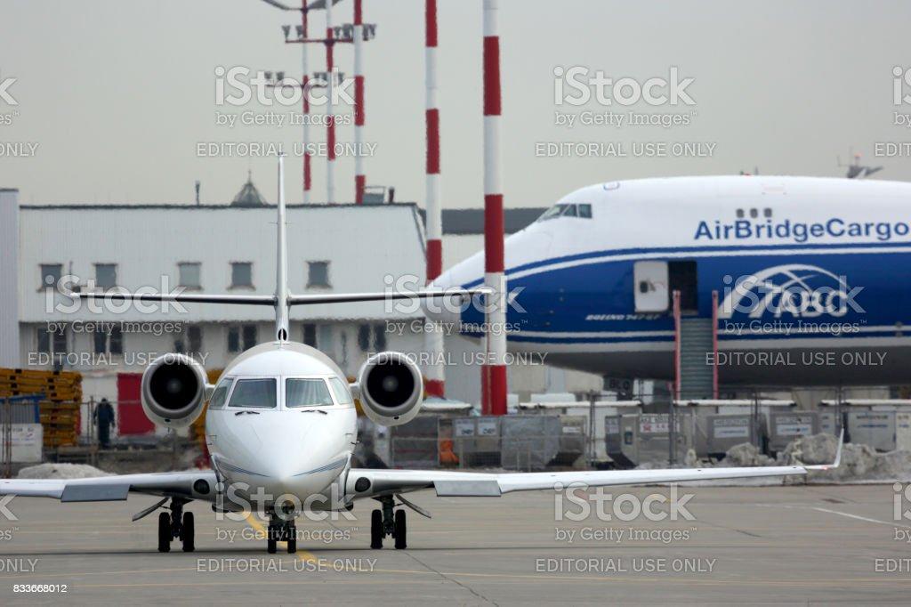 Private Gulfstream G200 LX-GRS pictured at Sheremetyevo international airport. stock photo