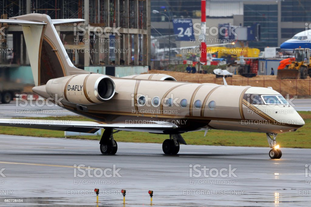 Private Gulfstream G450 D-AFLY at Vnukovo international airport. stock photo