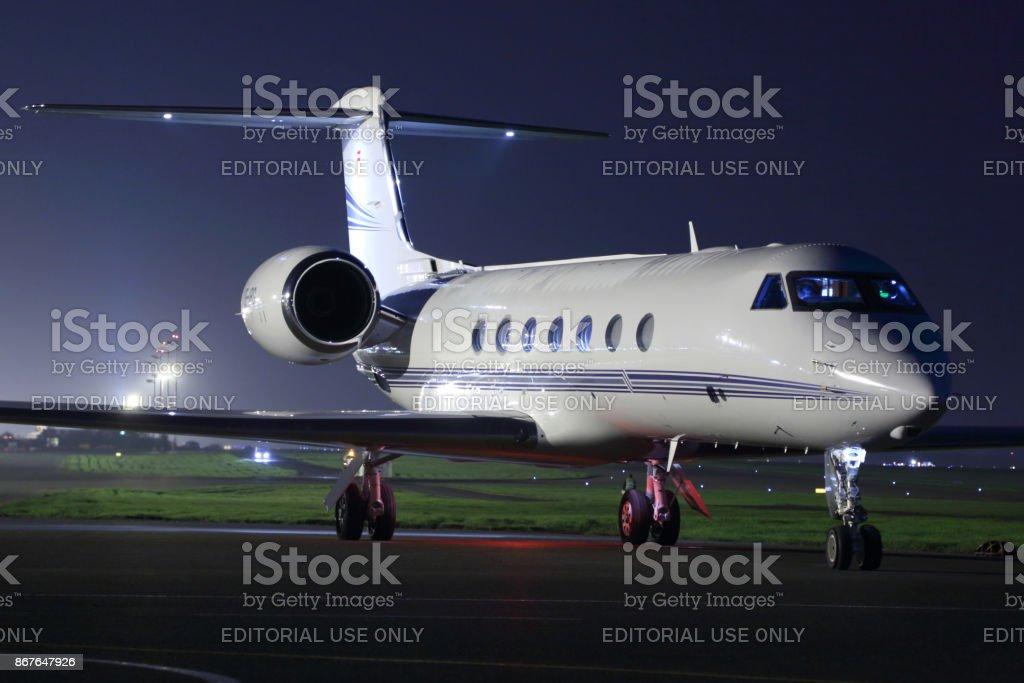 Private Gulfstream G550 at Sheremetyevo international airport. stock photo