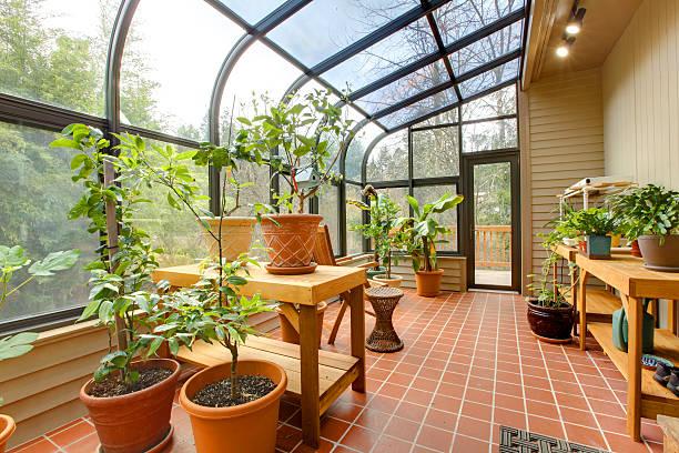 частный дом зеленый дом, солнечная комната - оранжерея стоковые фото и изображения
