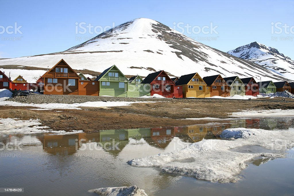 Private homes in Longyear city, Svalbard, Norway stock photo