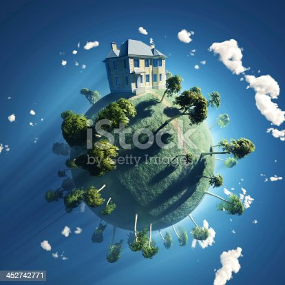 istock private house on small planet 452742771